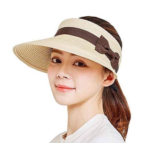 ZX-cappello Di Paglia Cappello A Cilindro Vuoto Protezione Solare Estiva Ampia Brim Cappelli da Sole Dimensione Regolabile (Colore : Beige, Dimensioni : One Size)