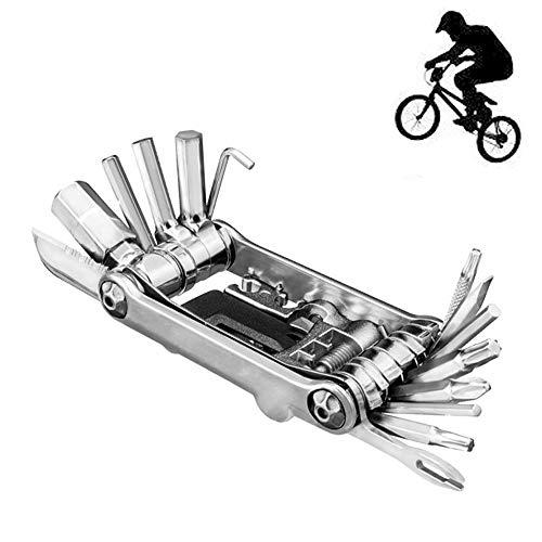 Fahrrad-Reparaturwerkzeug, 30 in 1 Fahrrad Multitools, Tragbare Mini-Set-Reitausrüstung, Fahrrad-Geschenke, Fahrrad-Zubehör, für Outdoor, Camping, Reisen, Radfahren, Rennrad, Mountainbike,Silber
