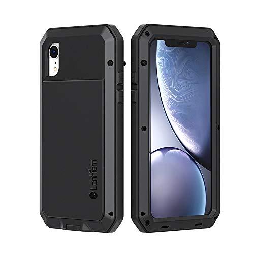 Lanhiem Coque iPhone XR, [Antichoc] [Solide et Rigide] Antipoussière Full Body avec du Verre trempé [Garantie à Vie] Imperméable IP44 Etui per iPhone XR [Compatible Charge sans Fil] - Noir