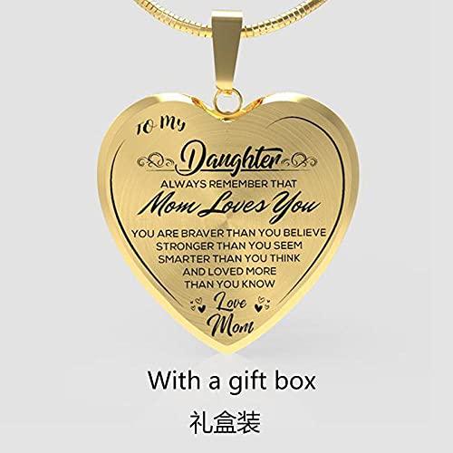 QAQV Epoxi A Mi Hija Amor Mamá Colgante En Forma De Corazón Collares De Cadena De Serpiente Para Mujeres Niñas Regalo De Cumpleaños-Oro
