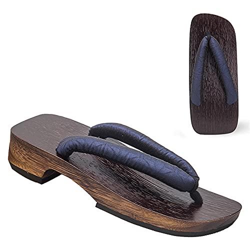 YANMUZI Sandalias Geta para Hombre Sandalias Geta de Madera Zuecos Flip Flop Zapatillas de Tacón Alto Tradicionales Japonesas,D-47