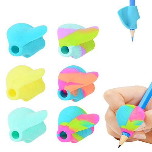 Pencil Grips for Children - Pencil Grippers Hand Writing Tools - Ergonomic Writing Aid Training Aid for Kids, for Lefties or Righties(Pack of 6)