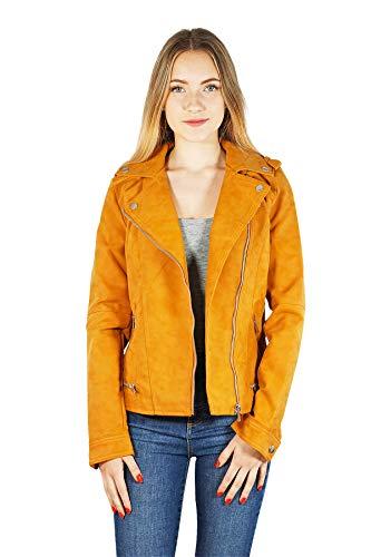 VERO MODA vmworld Damen Jacke Bikerjacke | Kurze Kunst-Lederjacke für Frauen | Übergangsjacke, Größe:L, Farbe:Gelb