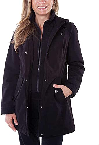 HFX Performance Women's All Weather Trench Coat, Water and Wind Resistant (Cement, Large)