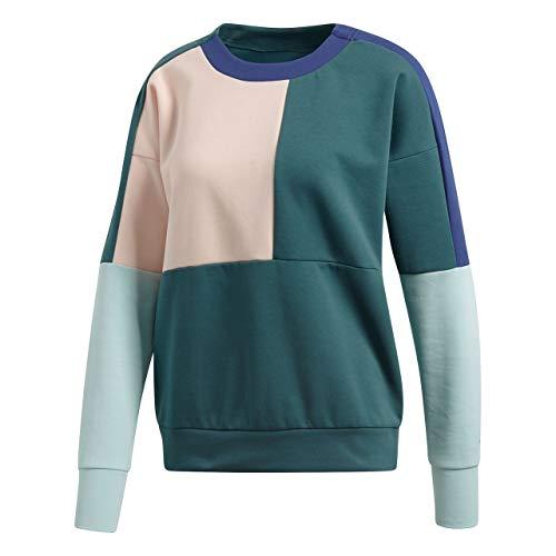 adidas Damen ID Glory Crew Langarm Sweatshirt, Noble Green/Haze Coral, S