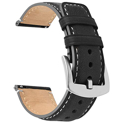 Fullmosa Correa de reloj de liberación rápida de 22 mm, 20 mm, 18 mm, cuero bruñido Wacth para Samsung Galaxy Watch/Huawei Watch/Garmin Watch/Asus Zenwatch 2