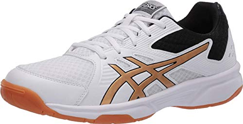 ASICS Women's Upcourt 3 Volleyball Shoes, 7.5M, White/Pure Gold