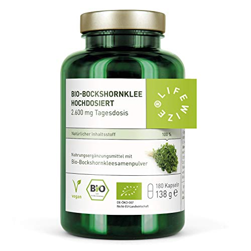 LifeWize® Bio Bockshornklee Kapseln Aktiviert - 2.600 mg Bockshornkleesamen (Fenugreek) - 180 Kapseln - Hochdosiert, Vegan & Ohne Zusatzstoffe