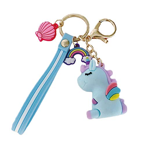 Kawaii Keychain Mini Cute Silicone Pendant Key Ring with Bell for Women Girls Blue