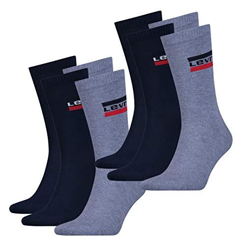 Levis® Herren Sportsocken Regular Cut 160SF Sportswear Logo 4er Pack 35-38 39-42 43-46, Größe:35/38, Farbe:Denim (162)