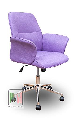 Stil Sedie - MOD Miami Sedia Poltrona da Ufficio da scrivania ergonomica Regolabile in Altezza con Base Girevole Ruote in ABS Colore (Viola Porpora)