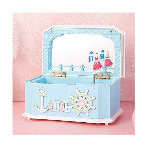 Cajas de música Cajas musicales Caja de almacenamiento de joyería musical con bailarina que gira, la música creativa de la caja con el espejo, niños joyería caja for las muchachas, rosa / azul Regalo