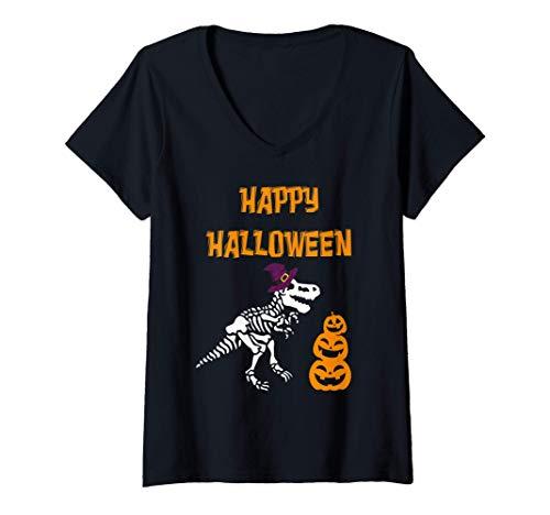 Mujer Dinosaurio con sombrero de bruja Happy Halloween Costume Tee Camiseta Cuello V