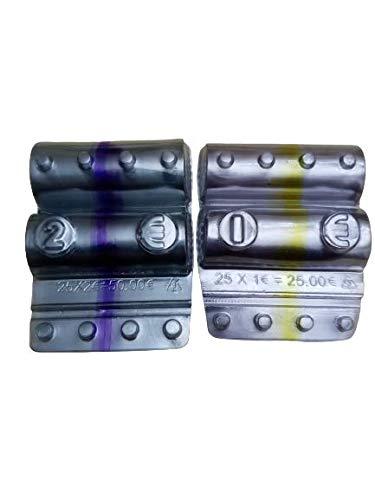 Blister contenitori per monete euro - 100 blister portamonete (2X50) da 1 euro e 2 euro + 1 nastro adesivo trasparente omaggio