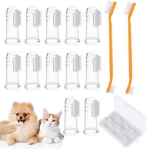 TGFIX 14TLG Haustier Zahnbürste Set Hundezahnbürste Zahnreiniger 12 Weiche Silikon Fingerzahnbürste mit 2 Langem Griff Zahn Bürste Pet Toothbrush Zahnpflege Zähne Putzen für Hund und Katze