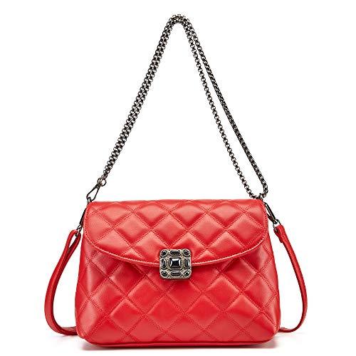Luxuriöse kleine Umhängetasche für Damen, gesteppt, Geldbörse, modisch, 2020, weibliches Leder, 25, Rot (rot), Small