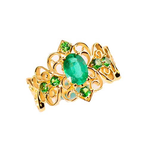 TIANRAO 0,8 karaat natuurlijk groene smaragd verlovingsring van 18 K geelgoud voor vrouwen