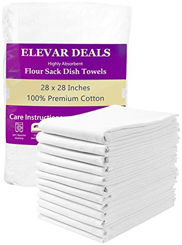 Elevar Deals Flour Sack Dish Towels - 12 Pack 100% Ring Spun Cotton Kitchen Towels - 28x28 Inches - Highly Absorbent, Multi Purpose White Kitchen Dish Towels, Hand Towels, Bar Towels.