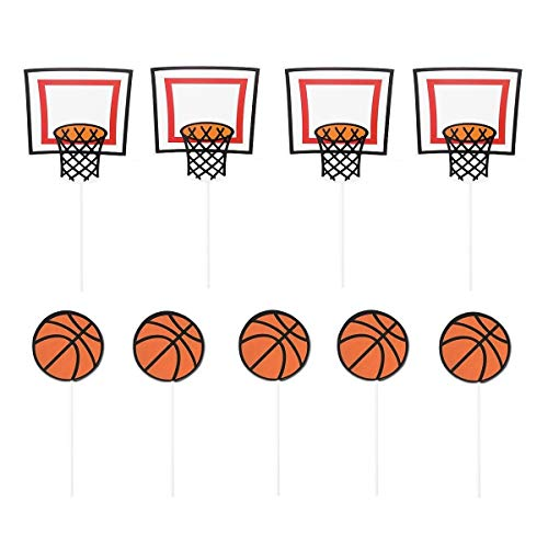JANOU Basketball Sports Cupcake Toppers Cake Picks Decoration Birthday Baby Shower Wedding Party Suppliers Pack 20pcs