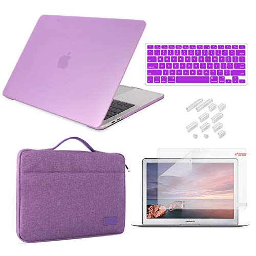 MacBook Air 13 Inch Case 2018 2019 Release Model A1932 Bundle 5 in 1, iCasso Hard Plastic Case, Sleeve, Screen Protector, Keyboard Cover & Dust Plug Compatible New MacBook Air 13'' - Violet