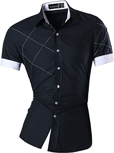 jeansian Men's Slim Fit Short Sleeves Casual Shirts Z003 Navy L