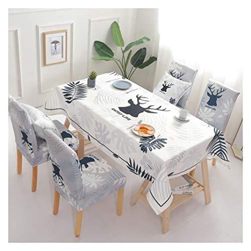 GUOCU Mantel de Algodón de Lino Rectangular Mantel de Mesa Impermeable Antimanchas Decoración para Cocina Comedor Fiesta Mantel Silla Juego de Tela nórdico Seis Fundas para sillas