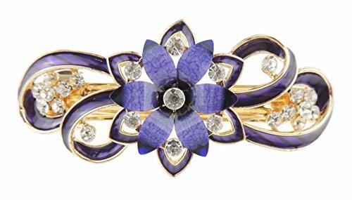 Pasador de pelo para la noche, esmaltado y con diamantes, con flor de pétalos puntiagudos y espirales, broche para mujer