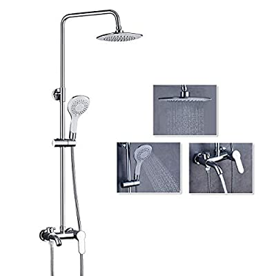 ROVATE Bathroom Shower Faucet Set with Adjustable Slide Bar, 5 Functions Hand Shower Wall Mount, Shower System with 8-inch Rainfall Showerhead and Bathtub Spout, Chrome Finished