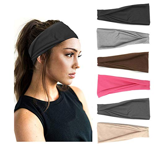 PLOVZ 6 Pack Women#039s Yoga Running Headbands Sports Workout Hair Bands Set 002