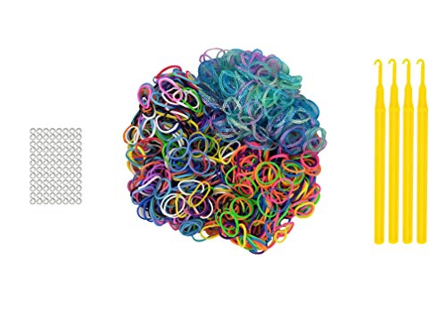 1,252 Pcs Rubber Bands Set Includes: 4 Loom Bands Bags. 300 Bands, 12 Clasps & 1 Looping Tool per Bag. Colors: Bright, Neon & Glitter. Designed in The USA.