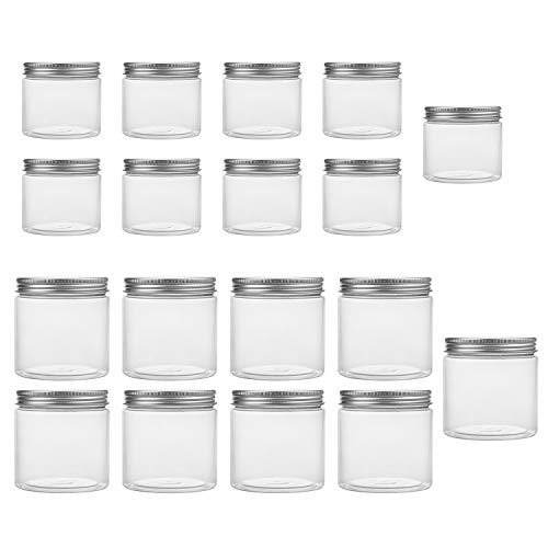 Tebery 18 Pack Clear Plastic Jars Bottles Containers with Silver Metal Lids 12oz & 5oz Transparent Storage Container for Slime Kitchen Dry Goods and More