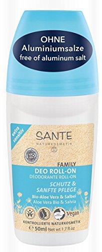 SANTE Naturkosmetik Deo Roll-on Bio-Aloe Vera and Salbei extra sensitiv, Für empfindliche Haut, Ohne Aluminiumsalze, Vegan, 2x50ml Doppelpack