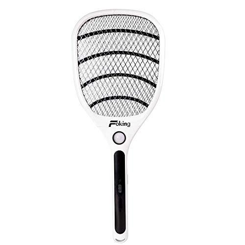 Foking Eléctrico Mosquito Zapper, Swatter Swatter mosquitero eléctrico para Uso en Interiores y Exteriores (Negro)