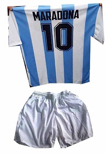 Completino New t-Shirt Maglia E Pantaloncini Bianchi Argentina AUTOGRAFO Stampato ricordo Maradona Tutte Le Taglie Maglietta, Omaggio Portachiavi (6 Anni)
