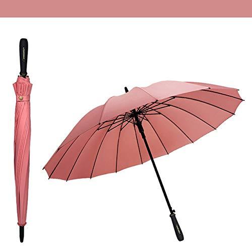NJSDDB paraplu Semi-automatische lange handvat paraplu's voor bescherming tegen wind en regen lange handvat paraplu duidelijke vrouwen zon regenachtige parasol, roze