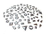 Perlin Hotfix Rhinestuds, Silber Farben Set, 3000 Stück, 4 bis 8 mm, Metall-Nieten Studs Octagon Thermo Selbstklebend zum Aufbügeln Bügelnieten