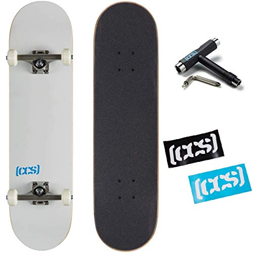 """[CCS] Blank Skateboard Complete - Maple Wood - Professional Grade - Fully Assembled with Skate Tool and Stickers - 8.00"""" x 32.00"""" (White, 8.00"""")"""