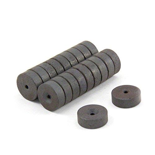 first4magnets™ FR1402505-20 14mm diamètre extérieur x 2,5 mm D.I. x 5mm épaisseur aimants de Ferrite Y10-0,135 kg Pull (Paquet de 20), Métal, Argent, 15x10x3 cm
