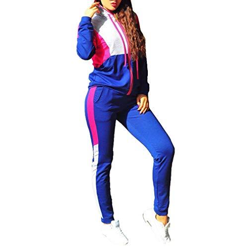 hibote Chándal Sexy Tops y Pantalones de Mujer Conjunto de Dos Piezas Set Top + Pantalones Trajes Mujerses Azul S