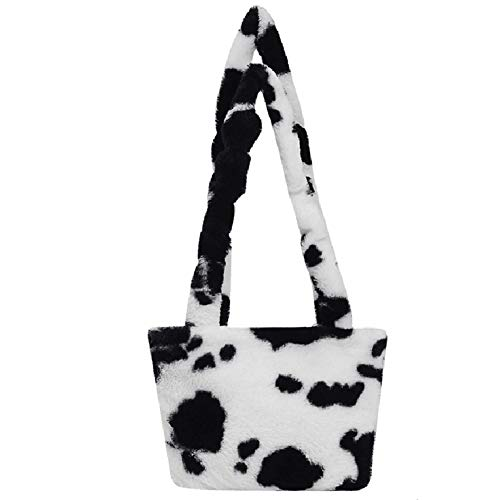 BOKIE Retro Plüsch Crossbody Tasche für Frauen Schultertaschen Flauschige Kuh Milch Druck Handtasche Weiblich Warm Pelz Tasche