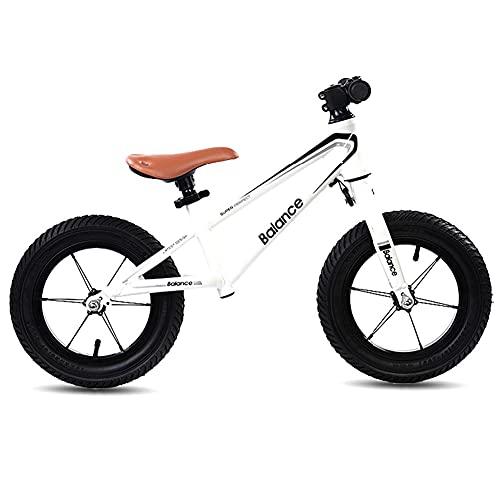 HWF Bicicleta Sin Pedales Grande Blanco Negro Bicicleta de Equilibrio para Big Kid, Sin Pedal Bicicleta Bicicleta de Entrenamiento para niños/niñas 6, 7, 8 años, Asiento Ajustable, Carga 80kg