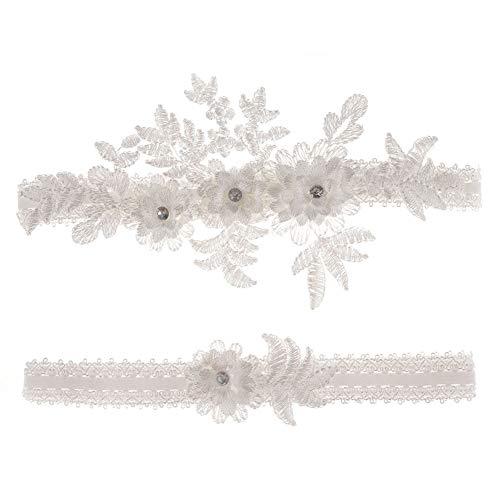 Afrsmw Liga Novia Boda Blanco Elegante Ligueros Elásticos de Encaje con Flores y Diamantes de Imitación Weiss