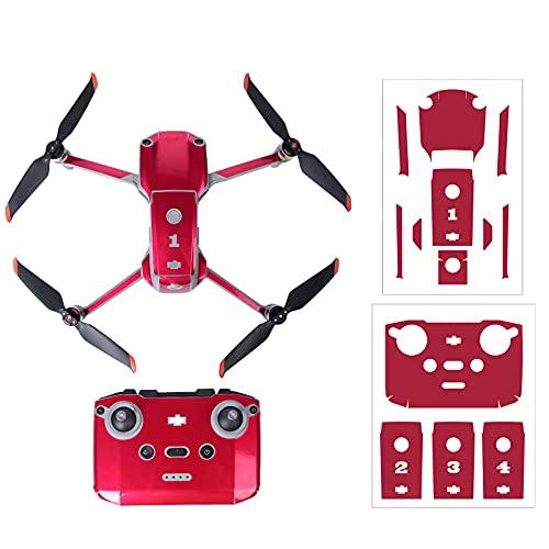 Linghuang - Pegatinas de protección de PVC para DJI Air 2S drones y mando a distancia, impermeable, resistente a los arañazos, diseño de piel completa, accesorios DIY (rojo)