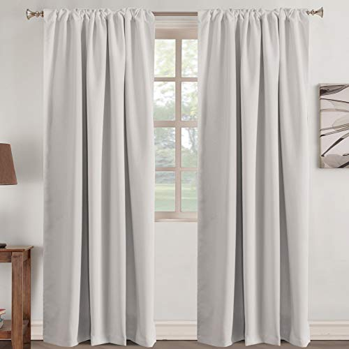 Turquoize Blackout Curtain Panels Rod Pocket Blackout Draperies for Bedroom Thermal Insulating Living Room Curtain Back Tab Blackout Draperies, 52 x 84 Inch, Set of 2, Stone