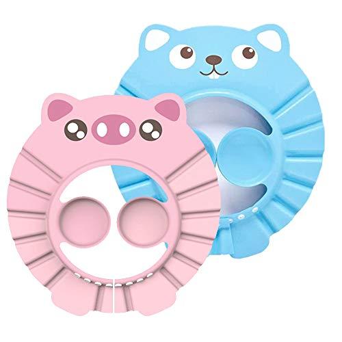 Duschhaube Kinder, Duschhaube Baby, Weiche Einstellbare Baby Duschhaube, mit Ohrenschutz Die Gesicht und Augen vor Wasser und Shampoo Schützt für Kleinkind Babypflege - Rosa, Blau (2 Stücke)