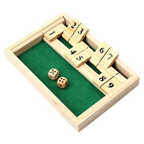 Kitchnexus Shut The Box 2 jugadores de madera - Juego de beber para fiesta o bar - Gnole - Juego de beber con los amigos - Estrategie - Juego de ajedrez de madera, 21 x 14,5 x 2,5 cm (verde)