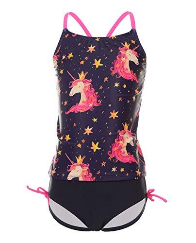 iDrawl Baby Bikini Set Schwarz Einhorn Badeanzug Mädchen Top+Shorts Sommer Tankini Strandwear UV Shutz,Größe S