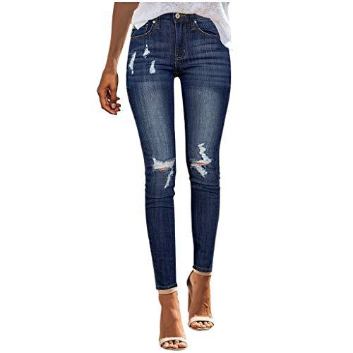 FinDaDa Damen Loch Elastisch Jeans, Skinny Slim Hosen Kleine Füße Elastische Löcher Jeans Mode Frauen Freizeithosen Jogginghose Sporthosen,Damen Stretch Jeans Skinny High Waist Jeanshose Blau