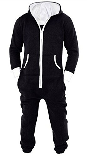 Nicetage Onesie Pajama Non Footed Zip Up Adult With Hoodie One Piece Jumpsuit ---LF-Overall_Black_XL