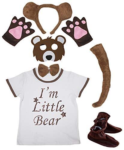 Petitebelle Little Bear - Mscara de oso para la cabeza, 7 piezas, disfraz de 1 a 4 aos (marrn (cola larga), 3 a 4 aos)